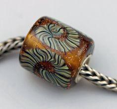 Big Amber Raku Barrel Bead   Lampworked Glass Bead by PerrasBeads