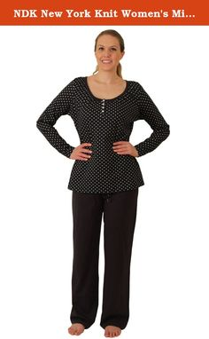 NDK New York Knit Women's Missy Pajama Sent With Tee-Shirt and Pants. NDK New York Stylish Pajama sent. Cotton and Spandex blend. This stylish pajama set is perfect outfit for lounge wear and sleep wear. The top has a stylish hem line and a small pocket in the front. The pants have side pocked detail and cuffs on the legs. This PJs are supper comfy and stylish and it is perfect to give as a gift. The Pajama set is available in two prints and one solid color. The sizes available are from…