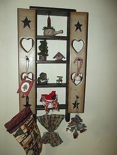 Primitive Christmas Gathering ~ Crackle Wood Shelf, Shaker Pegs ~ Holiday Decor