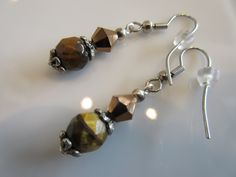 Handmade For You Brown Cat's Eye Faceted Beads, Tibetan Silver, Swarovski Crystal Beaded Silver Plated French Hook Earring Hooks E150 by JewelsHandmadeForYou on Etsy