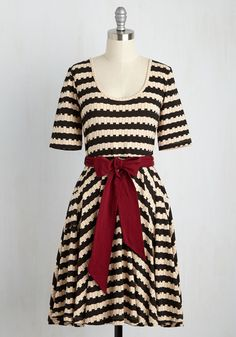 Exhibition Marks the Spot A-Line Dress in Stripes by Effie's Heart - Black, Tan / Cream, Stripes, Print, Geometric, Pockets, Work, A-line, Short Sleeves, Fall, Knit, Best, Mid-length
