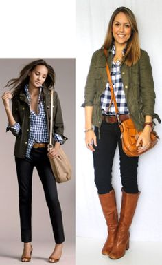 Gingham and army jacket