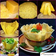DIY Edible Cheese Salad Bowls Recipe: It is easy to make, and great idea to use flour mix as alternative, great to serve appetizer or salad, french fries Aperitivos Finger Food, Edible Cups, Food Carving, Cheese Salad, Snacks Für Party, Food Decoration, Salad Bowls, Creative Food, Creative Ideas