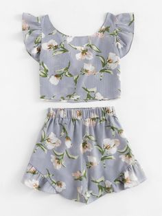 Allover Florals Bow Tie Detail Frill Top With ShortsFor Women-romwe Girls Fashion Clothes, Teen Fashion Outfits, Outfits For Teens, Girl Fashion, Casual Outfits, Really Cute Outfits, Pretty Outfits, Girls Short Dresses, Two Piece Homecoming Dress
