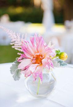 Refreshingly bright centerpieces, pink dahlia // Dana Cubbage Weddings