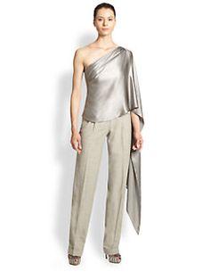 love the drama - Ralph Lauren Bridget Silk One-Shoulder Top