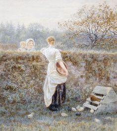 Helen Allingham 'Over the garden wall' 19thC watercolour