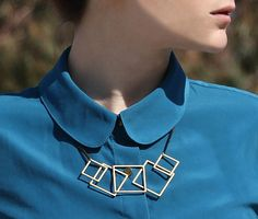 Mijn vierkantjes halsketting  Gouden geometrische door timorshachar