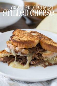 Grilled cheese never tasted so good with this delicious Tavern Style Pot Roast Grilled Cheese complete with au jus for dunking. Pot roast alone is good stuff but pot roast on grilled cheese is almost life changing! Roast Beef Recipes, Slow Cooker Recipes, Crockpot Recipes, Cooking Recipes, Tofu Recipes, Hamburger Recipes, Grilling Recipes, Easy Recipes, Recipies