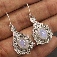Vintage 1 Pair 925 Sterling Silver Earrings Natural RAINBOW MOONSTONE Gemstones #Unbranded #DropDangle