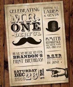 Mr. One-derful Birthday Invitation Little by PartiesbytheBundle