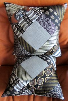 Sewing Pillows Pillows made from neckties by Kay Koeper Sorensen. Tie Pillows, Sewing Pillows, Cushions, Sewing Hacks, Sewing Crafts, Sewing Projects, Mens Ties Crafts, Neck Tie Crafts, Necktie Quilt