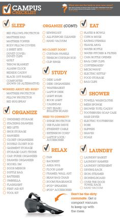 University Checklist - Use to make up basket for college student Dorm Room Checklist, College Checklist, College Hacks, Packing Checklist, College Packing Lists, Dorm Hacks, College Problems, Dorm Life, College Life