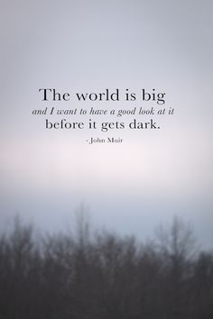 the world is big and i want to have a good look at it before it gets dark - John Muir