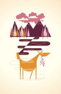 """MULE DEER by Alex Perez 3-color hand pulled screen-printed poster. 12.5""""x19"""" on 100c French Paper White-Wash. theworkofalexperez.com"""
