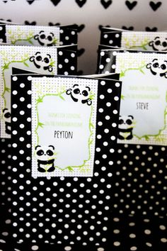 "Gift bags from a Panda Bear ""Panda-monium"" Birthday Party via Kara's Party Ideas 