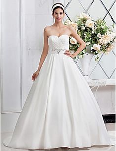 LAN TING BRIDE A-line Princess Wedding Dress - Chic & Modern Glamorous & Dramatic Simply Sublime Sweep / Brush Train Sweetheart Satin with