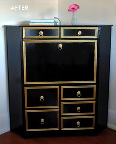 black and gold corner cabinet...it started as white