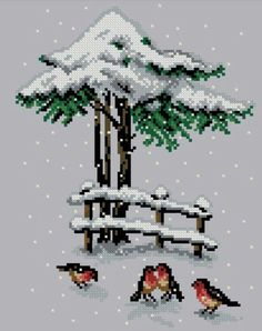 Christmas cross stitch, birds More Xmas Cross Stitch, Cross Stitch Samplers, Modern Cross Stitch, Cross Stitch Charts, Cross Stitch Designs, Cross Stitching, Cross Stitch Embroidery, Cross Stitch Patterns, Theme Noel