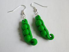 original boucle d oreille fimo petits pois vert legumes a croquer potager ! : Boucles d'oreille par fimo-relie