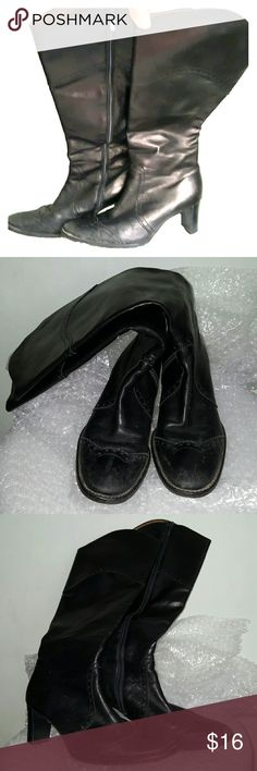 """Peter Kaiser size 5 black boots side zipper heels 2.5"""" black stacked heel. Bronze-toned leather lining. Side zipper closure. Brogue detail. Some scratches to the leather upper. Dirt marks. This pair needs some serious shoe polishing. Rubber soles. Peter Kaiser Shoes Heeled Boots"""