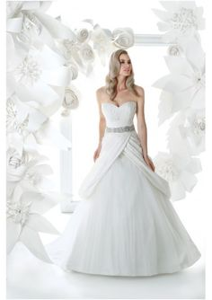 Asymmetrical Ruched Bodice with Beaded Trim A-Line Style Lucky Wedding Dress