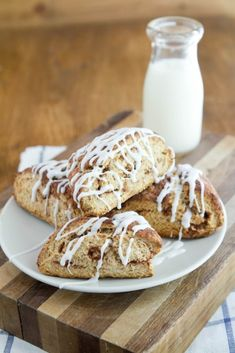 [ Recipe: Cinnamon Roll Scones ] Using unbleached all-purpose flour, whole wheat pastry flour, natural sugar, baking powder, baking soda, salt, butter, egg yolk, and buttermilk. For topping: butter, natural sugar, cinnamon. For Icing: Powdered sugar, vanilla, and milk. ~ from NaturallYella.com