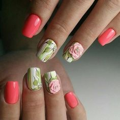 Embossed Pink Rose on Green and White base. Get your nails embellished with amazing nail art design that features white and green base, with the pink rose embossed on the bottom, with the stud in diamond.