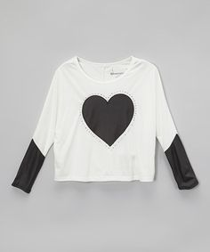 Look what I found on #zulily! Vanilla Heart Faux Leather Layered Tee - Girls #zulilyfinds