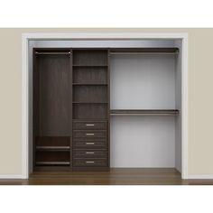ClosetMaid SpaceCreations W - W Closet System Finish: Premier Dark Java Mini Closet, Closet Rod, Master Closet, Closet Storage, Closet Organization, Closet Shelving, Organization Ideas, Bedroom Closet Design, Wardrobe Design