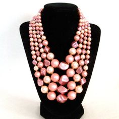 Statement Necklaces From the 60s | Vintage Statement Necklace 1960s Multi Strand Glass Beads Rose Pink ...