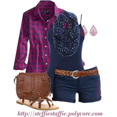 Dots & Plaid with Jeans, instead of Shorts (minus earrings for me)