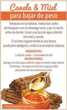 Beneficios de la canela y miel para bajar de peso #bajardepeso
