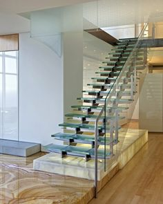 glass stair stone floor