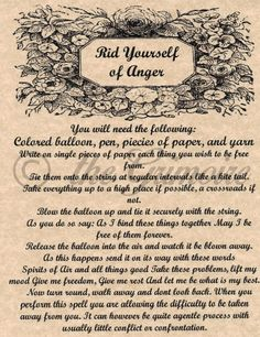 Magick Spells:  Rid Yourself of Anger #Spell.