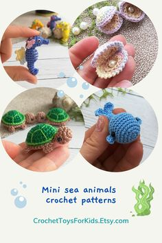 Amigurumi Crochet Pattern Tiny Sea Animals - turtle, whale, seashell pearl, seahorse and octopus You can buy these crochet marine animal patterns separately in my store