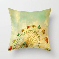 Carnival Pillow Cover Decorative Teal Pillow Mint Pillow Ferris Wheel Pillow Circus Throw Pillow 16 x 16
