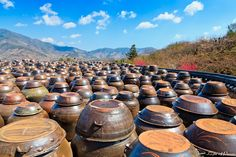 I really admire the craftsmanship and durability of Korean earthenware in general. I hope to own some myself someday (although probably not this big.more like the ones you use on the kitchen stove or use to serve bibimbap). Korea Tourist Attractions, Korea Tourism, Kitchen Stove, Storage Containers, Earthenware, Architecture, South Korea, Pots, Ethnic