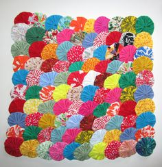 """100 2"""" Cotton Fabric Yo Yos Lovely, Handmade Variety of Prints and Solids, Applique, Scrapbooking, Flowers, Clothing, Decorating by YoyosAndMoreByJill on Etsy"""
