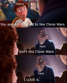 When someone say Clone Wars is a kids show: well yes but actually no When someone say Clone Wars is a kids show: well yes but actually no Star Wars Rebels, Star Wars Meme, Star Wars Facts, Star Wars Clone Wars, Funny Star Wars, Star Trek, Star Wars Pictures, Star Wars Images, Stupid Funny Memes