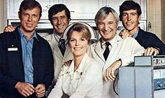 The show's main cast from left: Kevin Tighe, Robert Fuller, Julie London, Bobby Troup and Randolph Mantooth. 1970s Tv Shows, Old Tv Shows, Cathy Lee Crosby, Bobby Troup, Kevin Tighe, Randolph Mantooth, Julie London, Linda Gray, Medical Drama