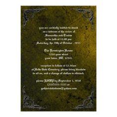 Grunge Rose Damask Gothic Invitation