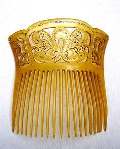 Victorian hair comb amber celluloid hair by ElrondsEmporium