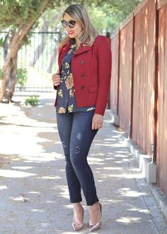 Loving the Outing Blazer with the Daisy Blouse and Dark Destructed Jeans. See more at jeanettemurphey.cabionline.com, Open 24/7