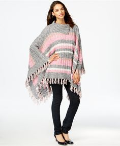 Tommy Hilfiger Striped Fringed Poncho - Ponchos & Capes - Women - Macy's