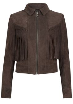 Shop the Muubaa Vaughan Fringe Suede Jacket - Bitter Chocolate online at The…