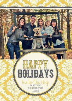 Gray & Yellow Damask Christmas Photo Card