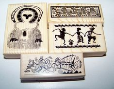 African Themed - Lot of 4 brand new mounted rubber stamps