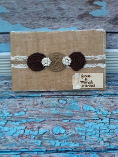 Burlap Wedding Guest book , custom guest book / You PICK COLoRS /  name book ,  rustic guest book on Etsy, $39.99
