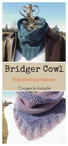 The Bridger Cowl Free Knitting Pattern is an easy knit you can whip up in no time. It looks simple but elegant with the detailed border. Lace Knitting, Knitting Stitches, Knitting Socks, Knitted Hats, Knitting Ideas, Knitting Tutorials, Knitted Scarves, Finger Knitting, Vintage Knitting